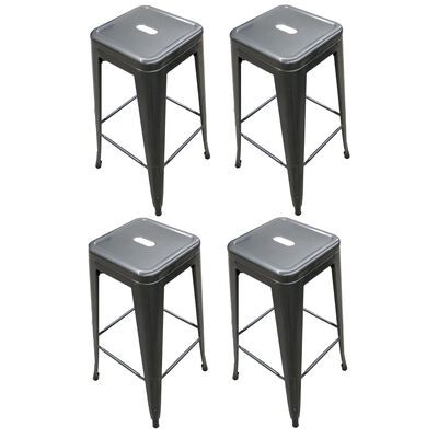 Set of 4 Distressed Gunmetal Stamped Stacking Bar Stools 30""