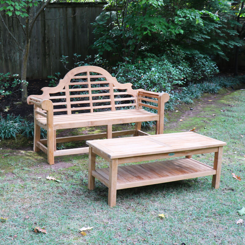 Teak 64-In Lutyens Bench with Outdoor Coffee Table