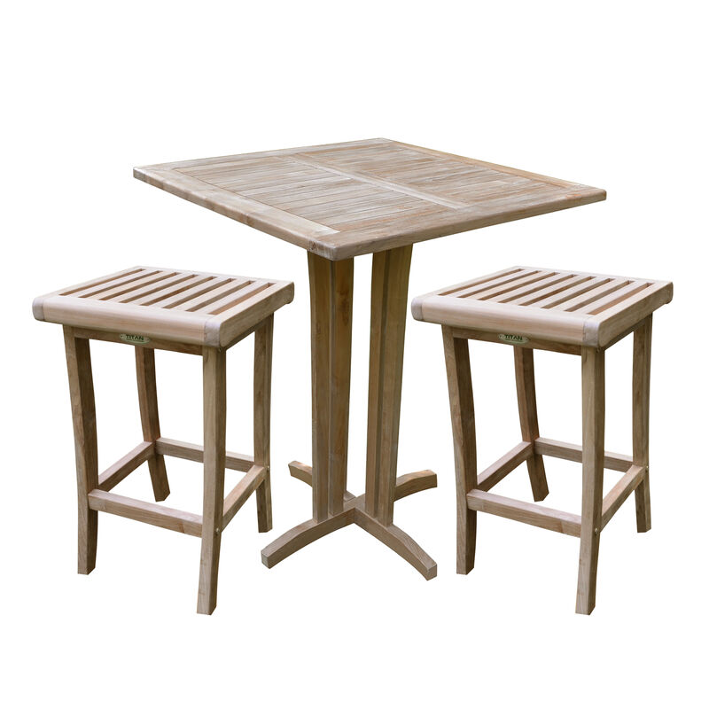 Teak 35-In Square Bar Table with two 29-In Bar Stools
