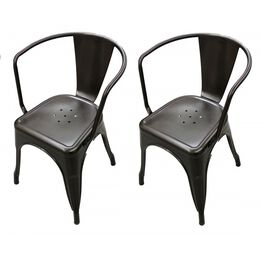 Scratch and Dent - Set of 2 Bronze Stamped Metal Stacking Chair - FINAL SALE
