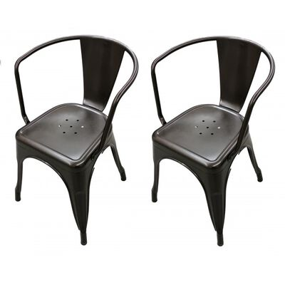 Set of 2 Bronze Stamped Metal Stacking Chair