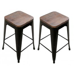 Set of 2 Stamped Bronze Metal Barstool with Wood Seat