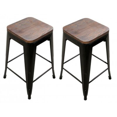 Set of 2, 24-in Bronze Stacking Metal Bar Stool W/ Wood Seat
