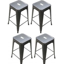 Set of 4 Stamped Gunmetal Barstools