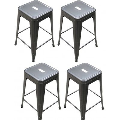 Set of 4 Distressed Gunmetal Stamped Stacking Bar Stools