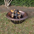 "40"" Copper Outdoor Fire Pit with Solid Steel Base and Fire Iron"