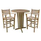 Teak 35-In Round Bar Table with two Arizona Bar Chairs