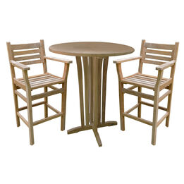 """Grade A Teak 35"""" Round Bar Table with Two Arizona Bar Chairs"""
