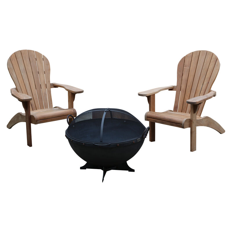 """Grade A Teak 2 Pack Adirondack Chairs with 32"""" Hemisphere Fire Pit"""
