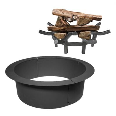 "33"" Diameter Fire Pit w/ 24"" Wagon Wheel Fire Grate Combo"