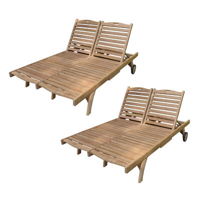 Set of 2 Teak Double Sun Loungers