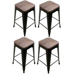 Set of 4 Stamped Bronze Metal Barstools With Wood Seat
