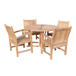 """Grade A Teak 47"""" Round Folding Table with 4 Armchairs"""