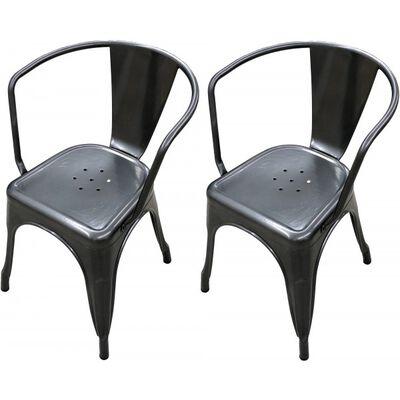 Set of 2 Distressed Gunmetal Stamped Stacking Chairs