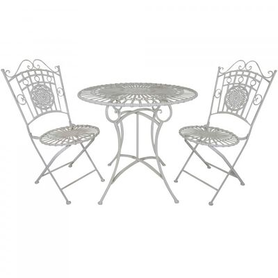 3 Piece White Metal Table & Chair Set
