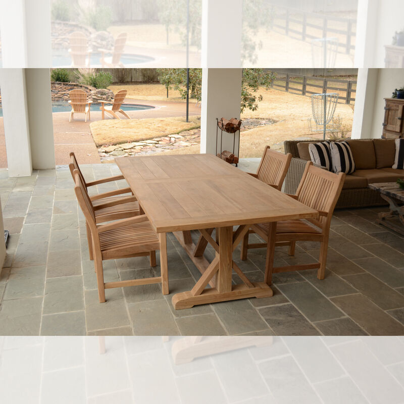 Teak 8-ft Farmhouse Trestle Table with 4 Armchairs