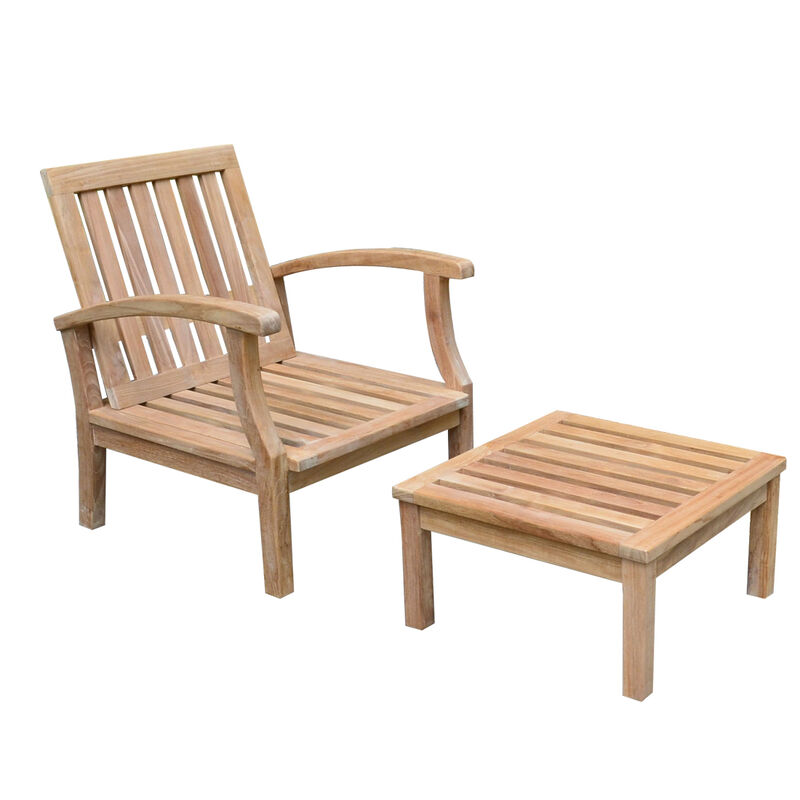 Teak Sevilla Lounge Chair with Footstool