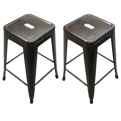 Set of 2 Stamped Metal Bar Stools