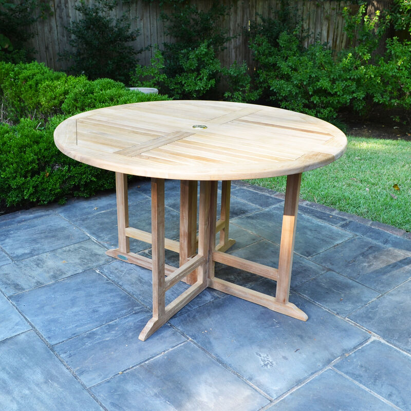 Teak Round Folding Table | 35-In