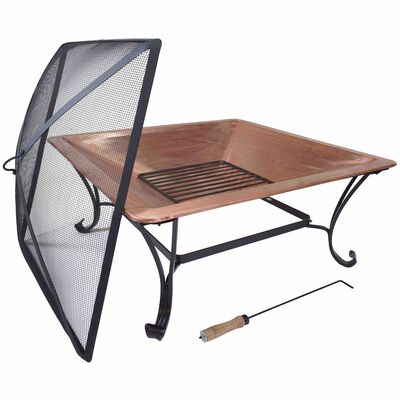 "Titan 33"" Square Solid 100% Copper Fire Pit Bowl Wood Burning Patio Deck Grill with Log Grate Ember Cover and Poker Tool"