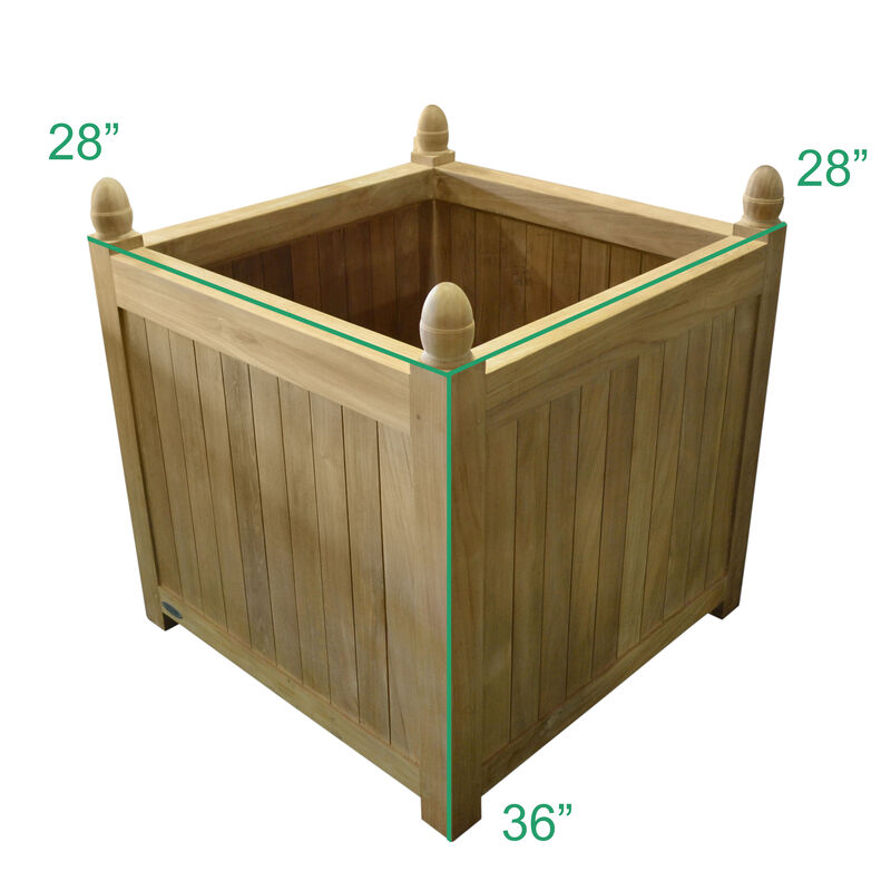 Teak Square Planter | 33-in