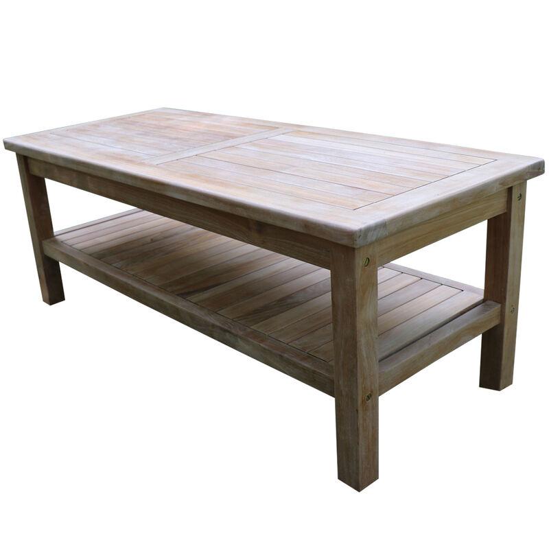 "Titan Teak Outdoor Coffee Table with Shelf | 47"""
