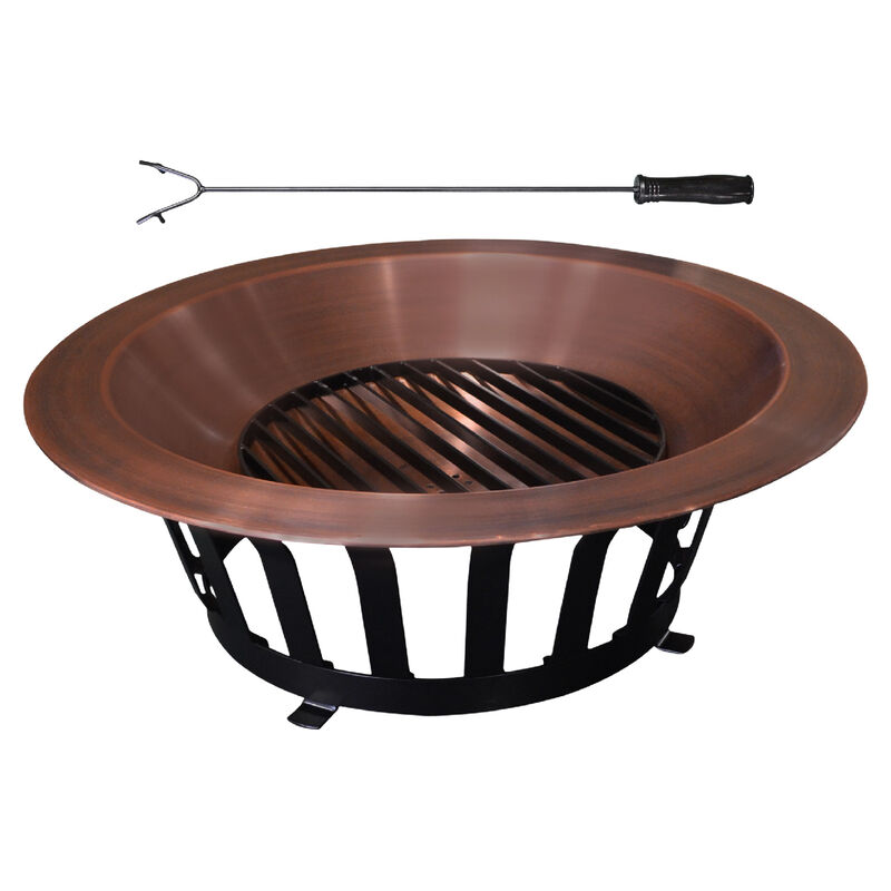"""40"""" Copper Fire Pit with Solid Base and Fire Iron"""