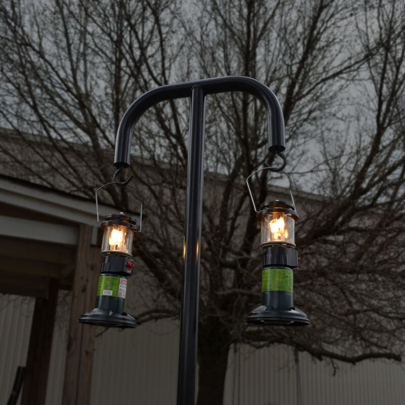 Dual Hanging Lantern Post | Powder Coated Steel