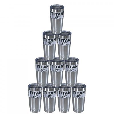 Set of 10 - 20oz Stainless Steel Tumblers