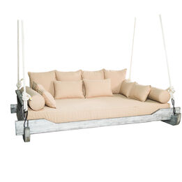 Montana Rope Porch Swing Bed with Cushions and Pillows   Grade A Teak   Queen-Sized