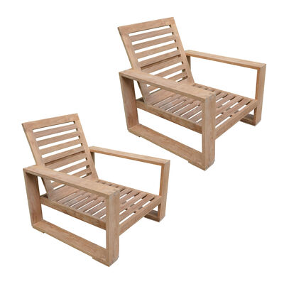 Set of 2 Teak Havana Chairs