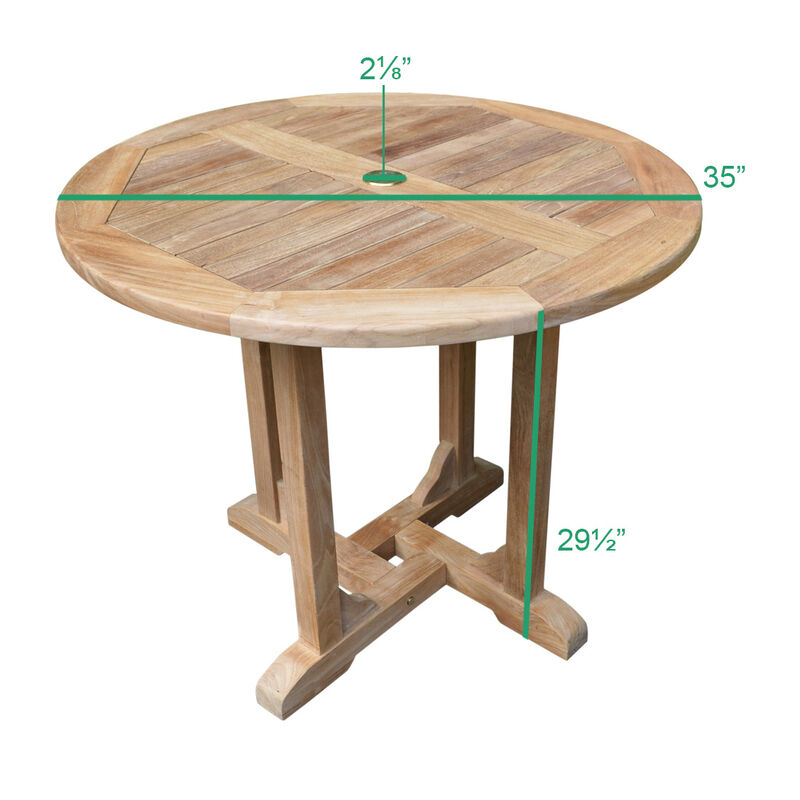 Teak Round Dining Table | 35-in