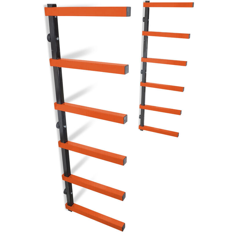 6-Shelf Lumber Storage Rack Steel Wall-Mounted Indoor / Outdoor