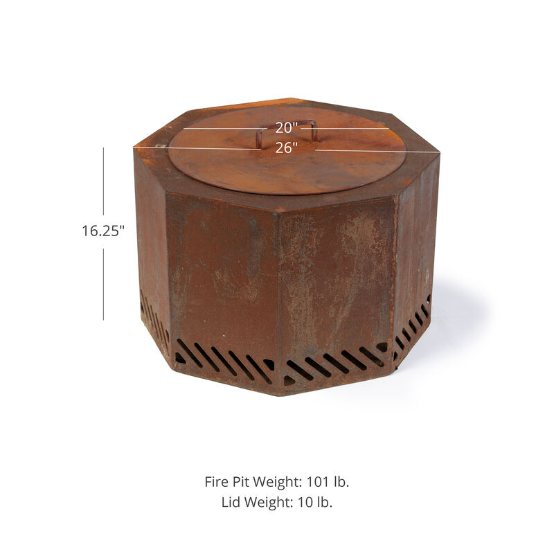 Corten Steel Dual Flame Smokeless Fire Pit with Lid