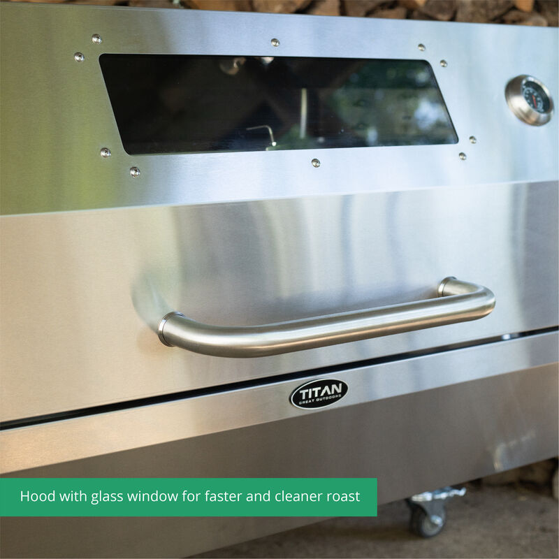 25W Stainless Steel Rotisserie Grill With Glass Hood