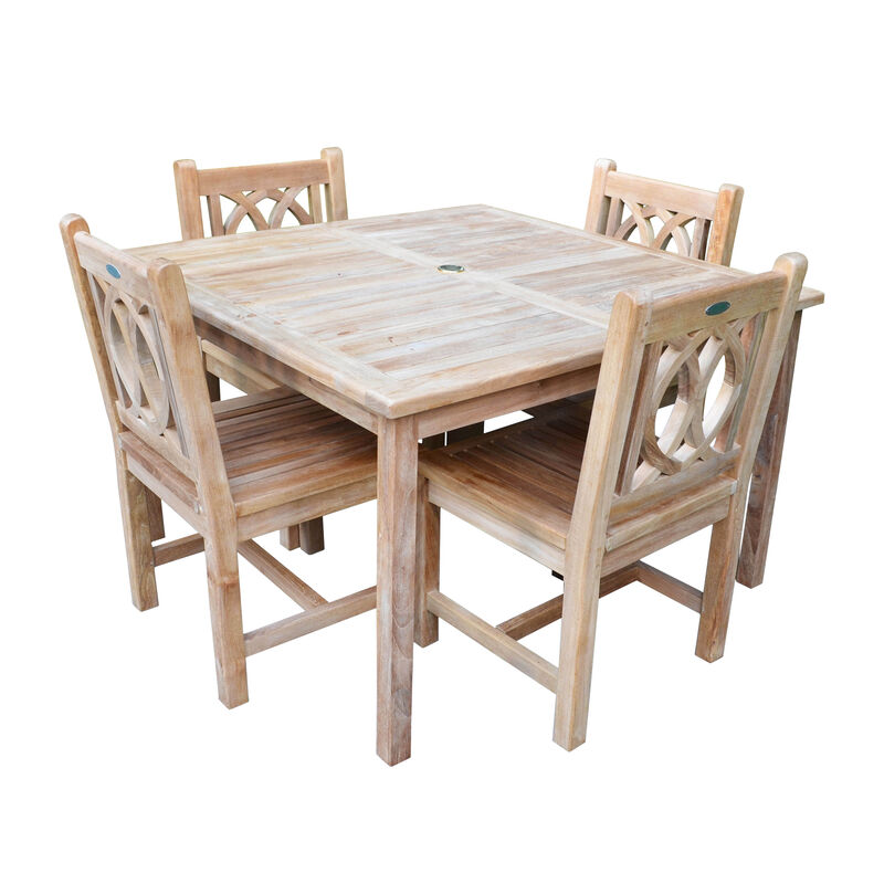 Teak 47-In Bistro Table with 4 Lismore Chairs