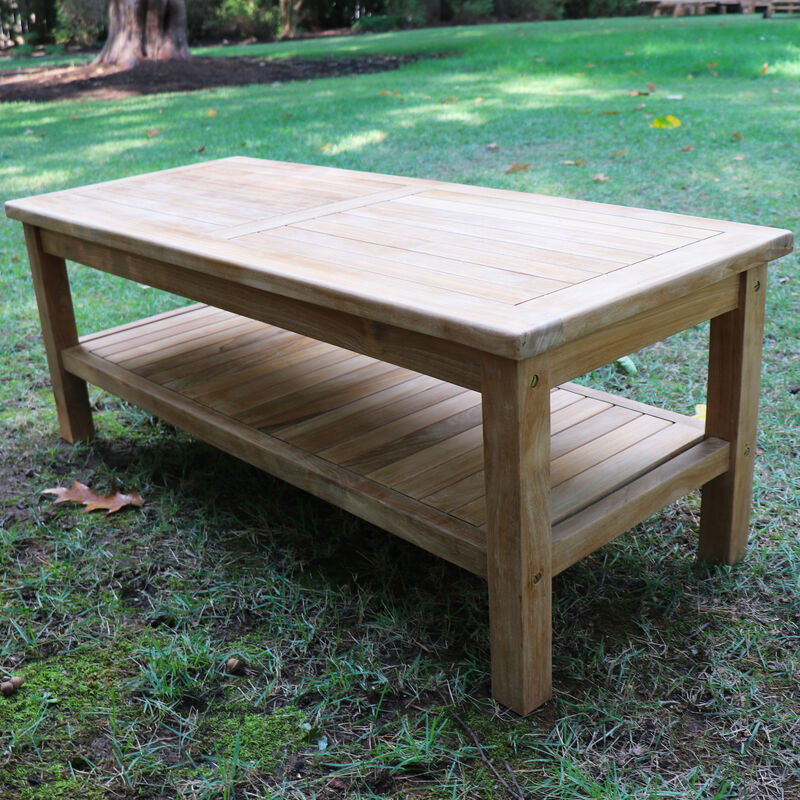 Teak Outdoor Coffee Table with Shelf | 47-in