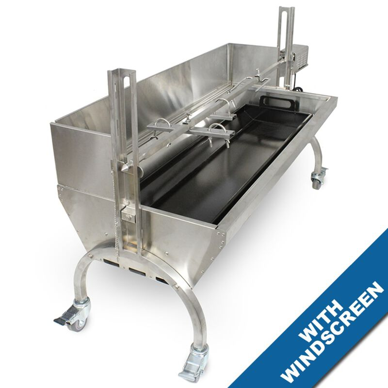 25W Stainless Steel Rotisserie Grill w/Windscreen
