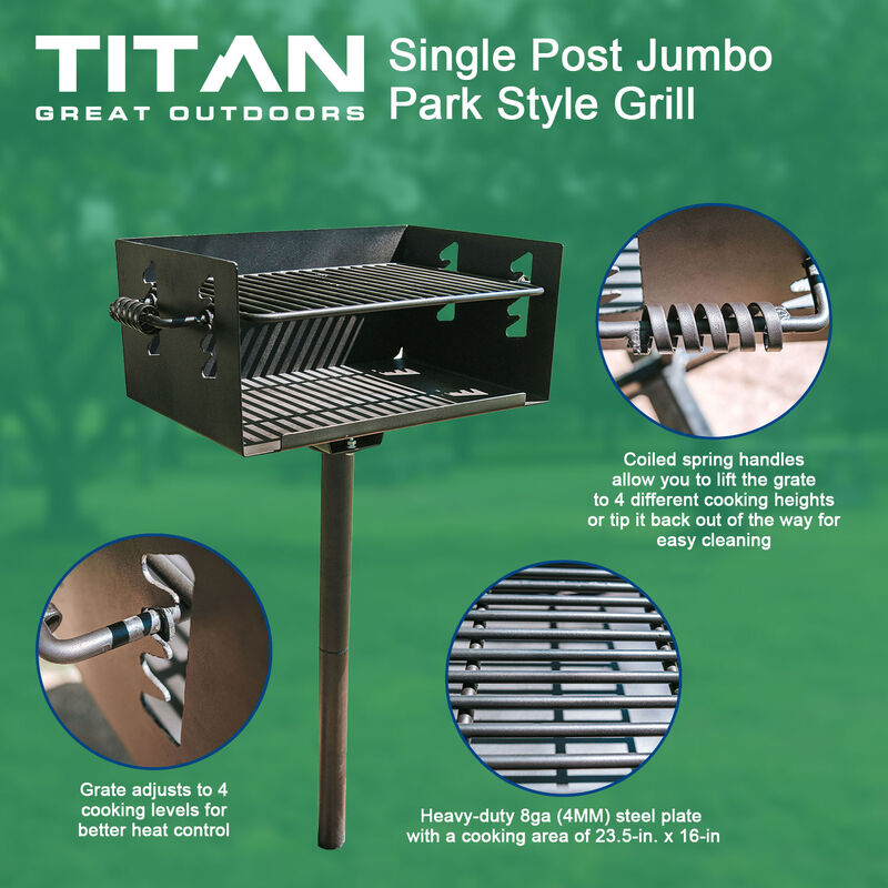 Single Post Jumbo Park Style Grill | V2