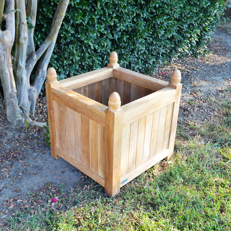 Teak Square Planter | 25-in