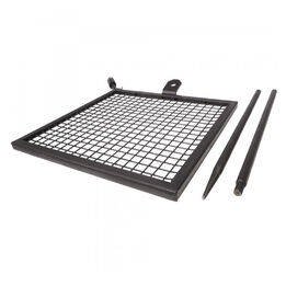 Scratch and Dent - Adjustable Swivel Grill, Steel Mesh Cooking Grate with Spike Pole, Camping Gear - FINAL SALE