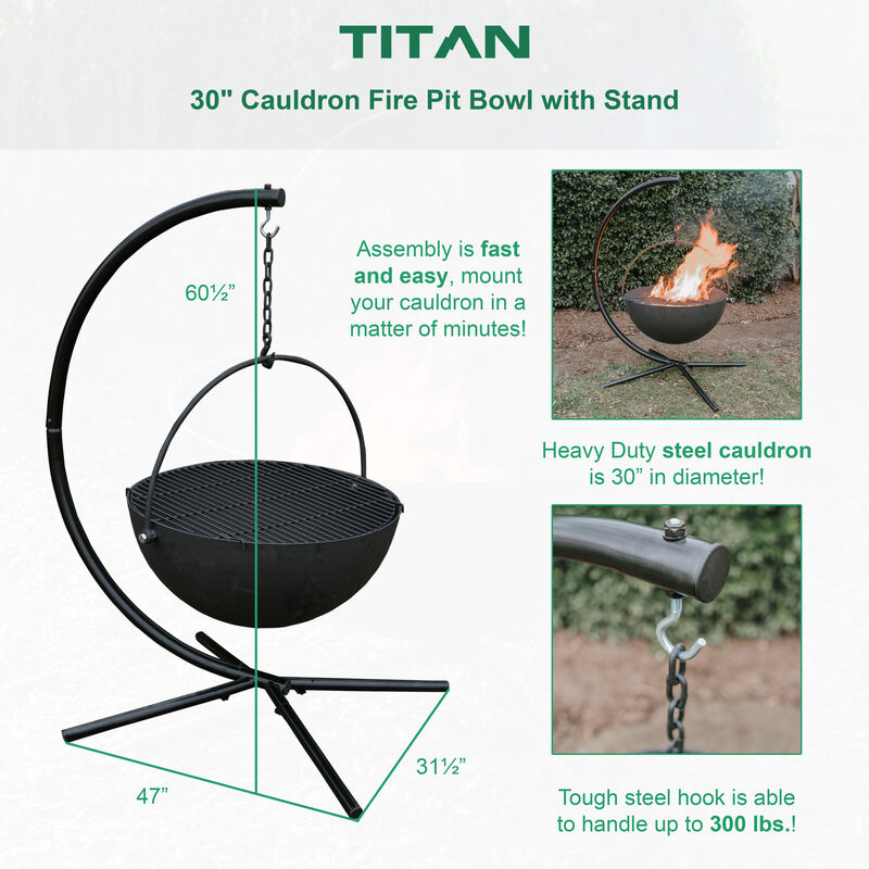 "30"" Cauldron Fire Pit Bowl with Stand"