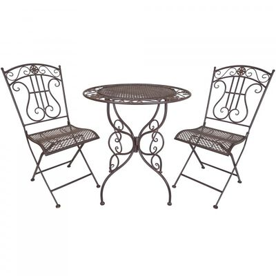 3 Piece Rustic Metal Bistro Table & Chair Set
