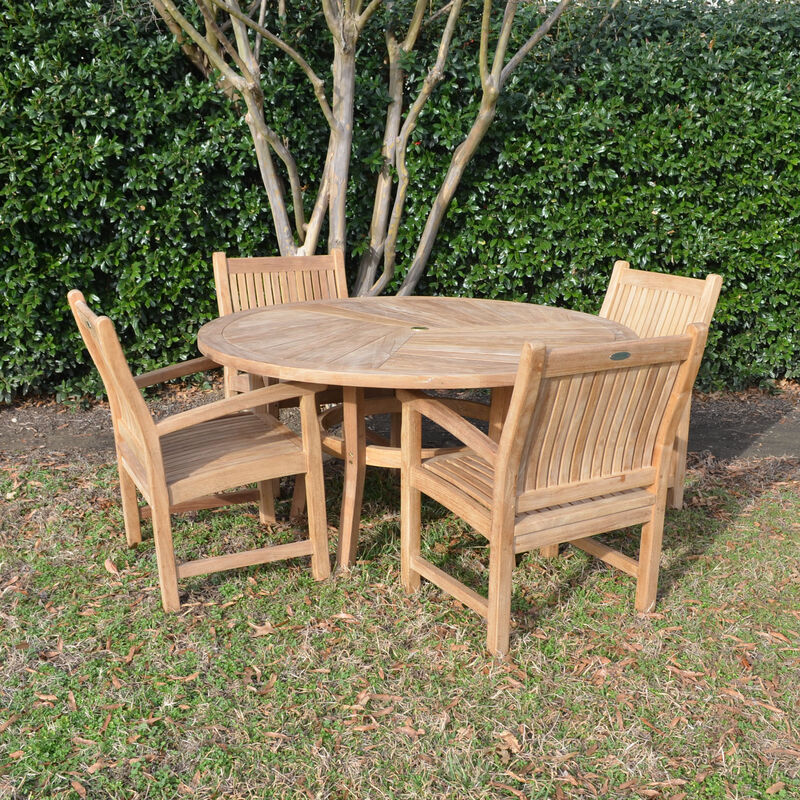 Teak 59-In Round Dining Table with 4 Arm Chairs
