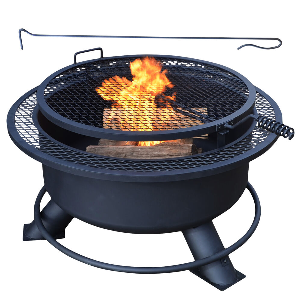 "Titan 38"" Fire Pit with Swivel Grill"
