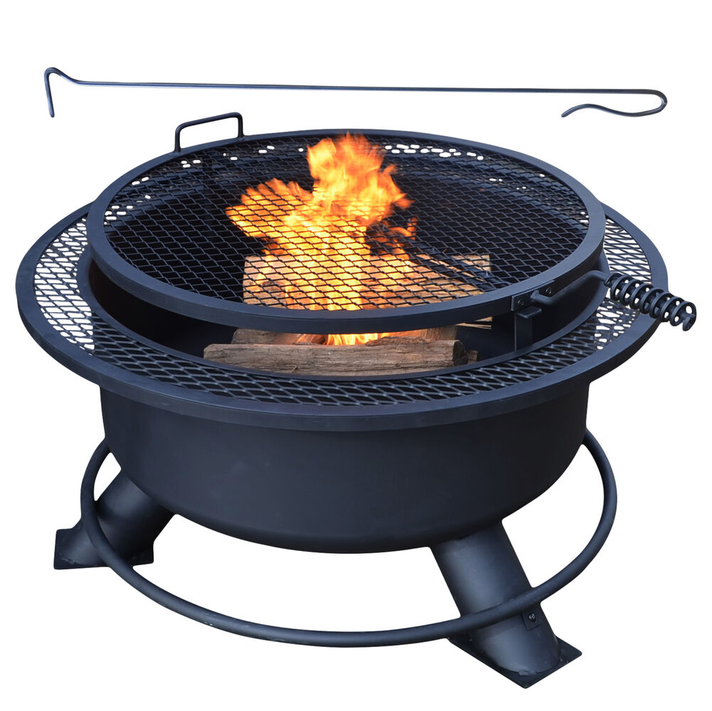Large 38 Fire Pit With Swivel Grill Backyard Fire Iron Cooking Grate Screen For Sale Titan Great Outdoor Free Shipping