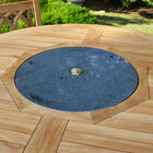 Teak 59-in Dining Table with Granite Lazy Susan