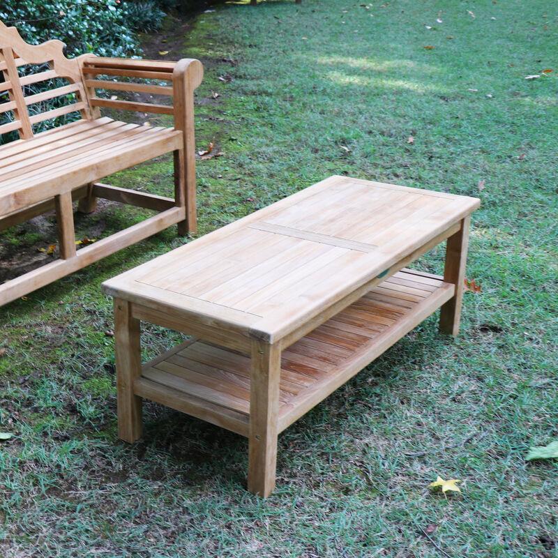 "Teak Outdoor Coffee Table & Shelf 47"" - Backyard Patio ..."