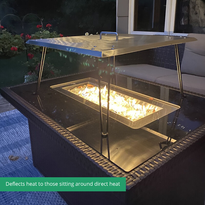 Fire Pit Heat Deflector With Portable Stand