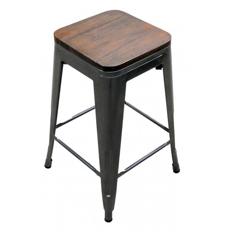 Set of 4 Distressed Gunmetal Stamped Stacking Bar Stools w/ Wood Seat